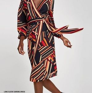 Zara Asymmetrical Stripe Sarong Wrap Dress
